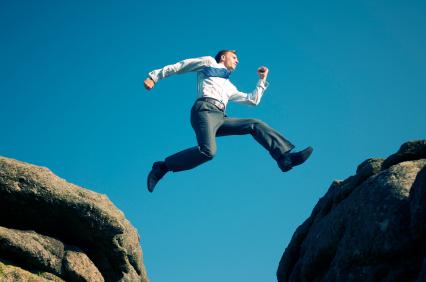 businessman makes a leap