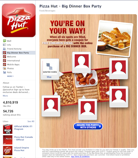 pizzahut incentivized share