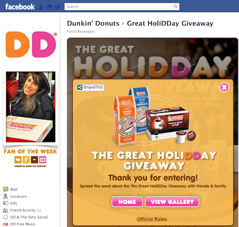 dunkin donuts facebook sweepstakes dashboard