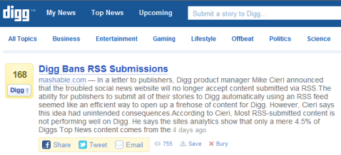 digg bans rss