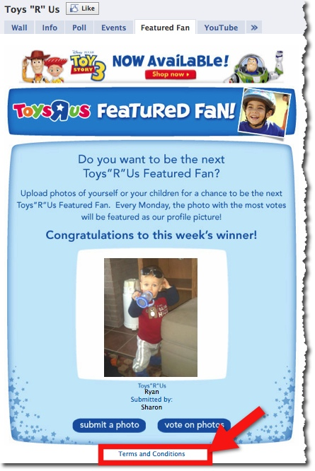Toys R Us Featured Photo Facebook Contest