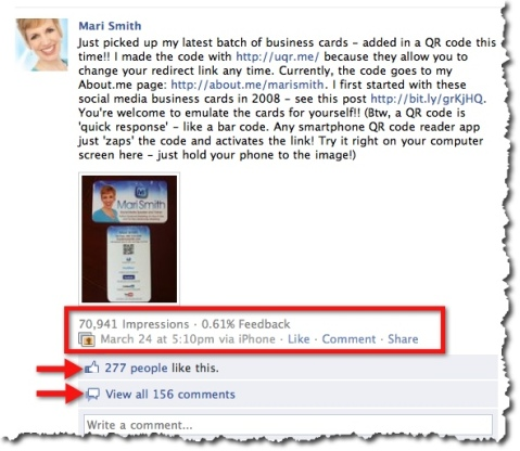Example Facebook Fan Page Per Post Insights