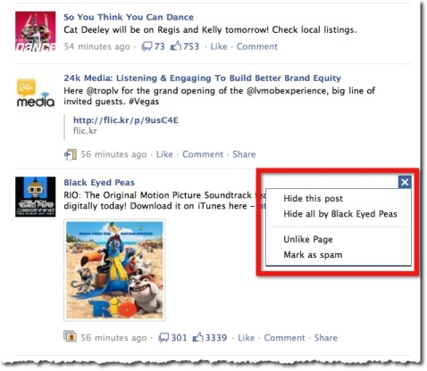 Facebook News Feed - Story Options