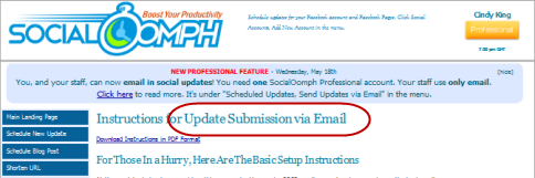 socialoomph email updates