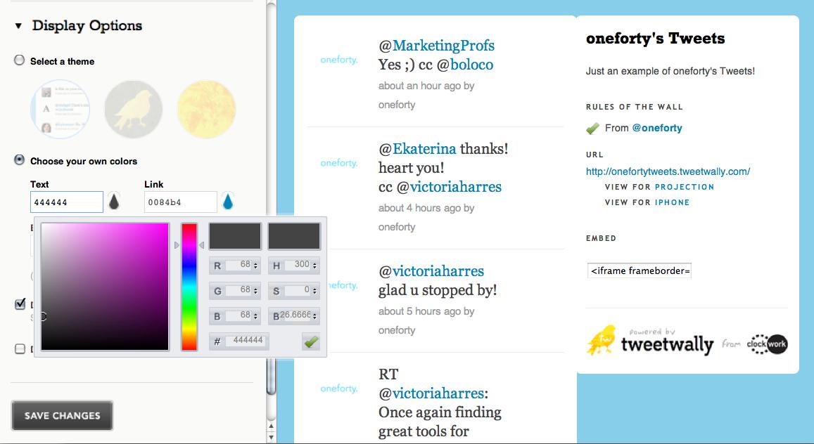 tweetwally display options