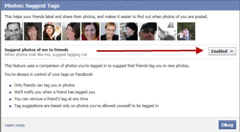 facebook photo tag setting