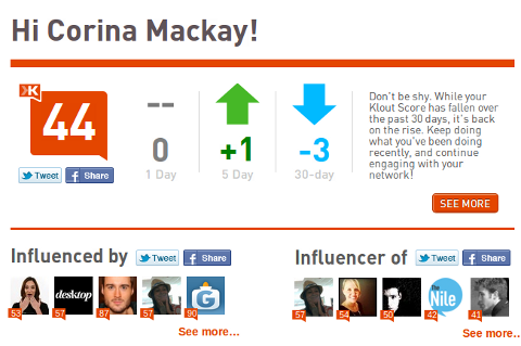 klout dashboard