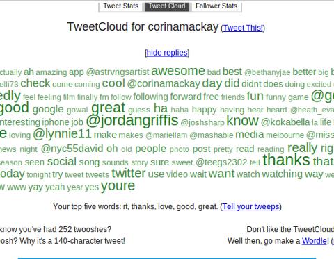 tweetstats word clouds