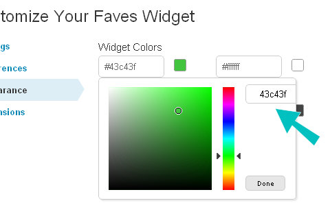 widget appeance colorpicker