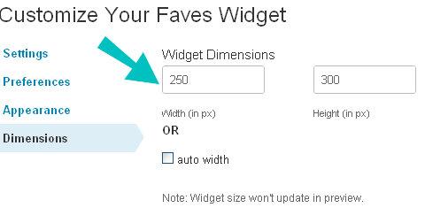 widget dimensions