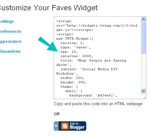 widget code box