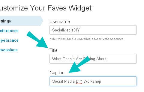 faves widget settings
