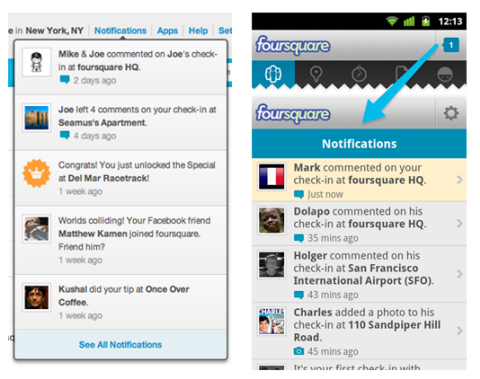 foursquare notifications