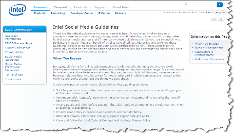 intel social media guidelines