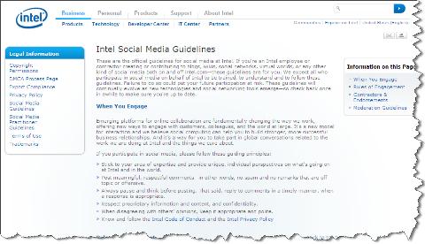 intel social media guidelines