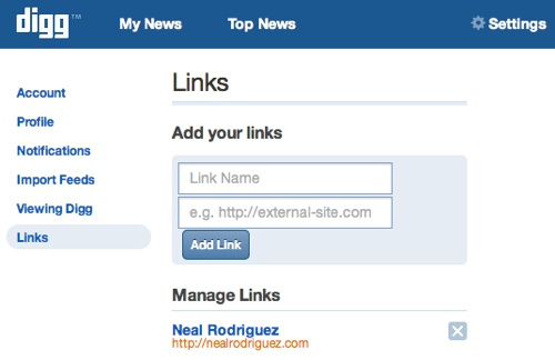 New Digg Profile Links