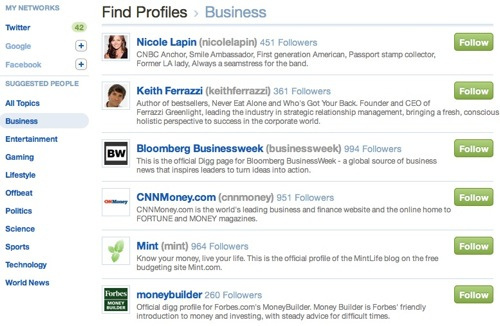 New Digg Follow Users by Topics