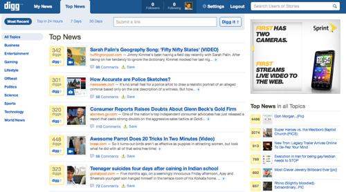 Top News on New Digg
