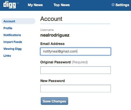 Neues Digg-Konto