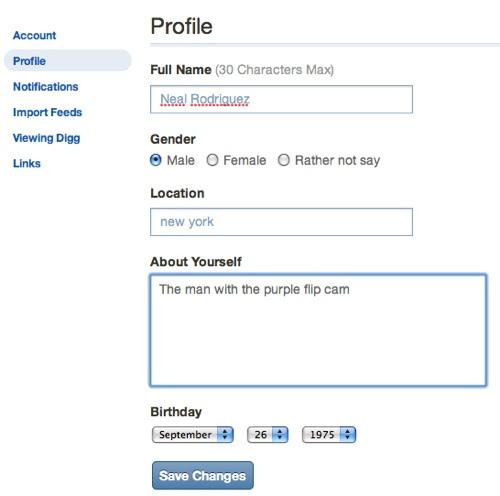 Neues Digg-Profil