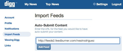 Enter Feed to New Digg