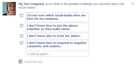 facebook question posted