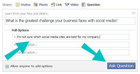 facebook question typed option