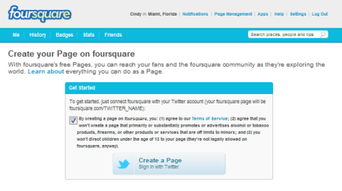foursquare business page