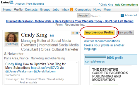 linkedin improve your profile