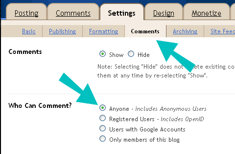 Blogger comment setting with arrows