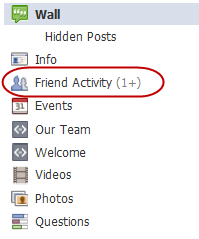 facebook page friend activity