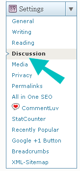 WordPress Discussion Setting menu