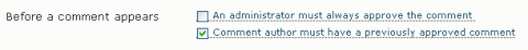 WordPress moderate first comment
