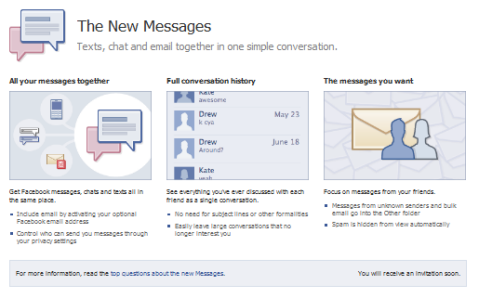 the new facebook message