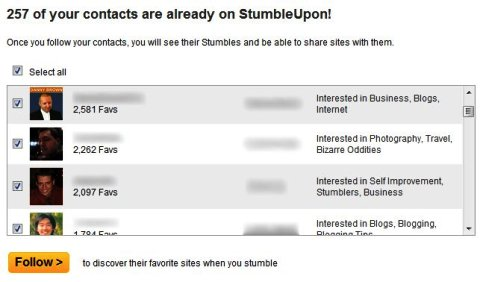 Contacts on StumbleUpon