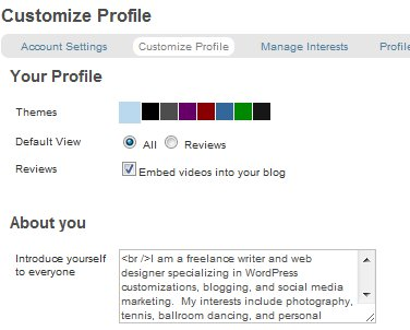 StumbleUpon Customize Profile