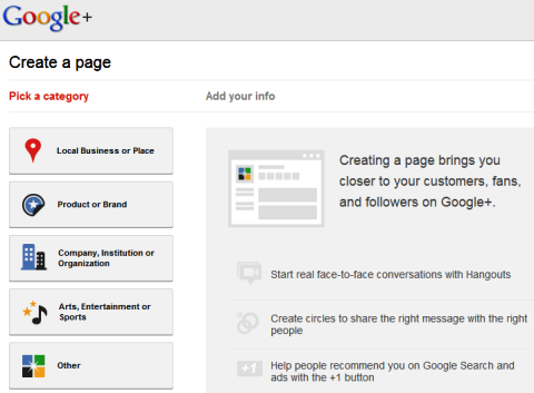 Google+ Pages - Create a Page