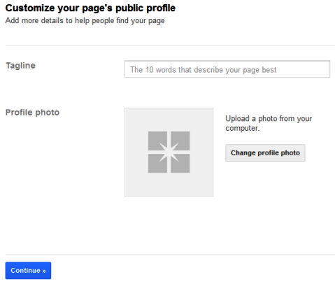 Google+ Pages - Tagline and Profile Photo