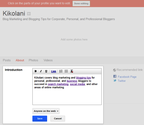 Google+ Seiten - Informationen zu Ihren Seiteninformationen