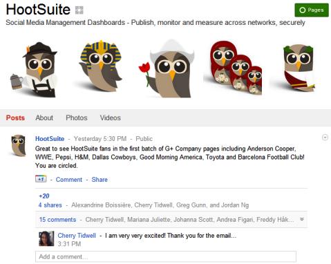 Google+ Pages - HootSuite
