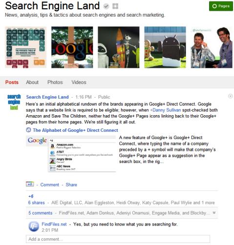 Google+ Seiten - Suchmaschinenland