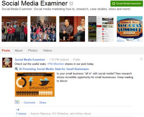 Google+ Seiten - Social Media Examiner