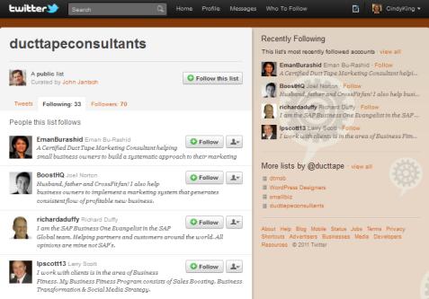 ducttape twitter list