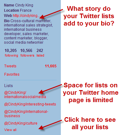 choose the right number of public twitter lists