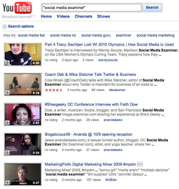 YouTube-Suchergebnisse