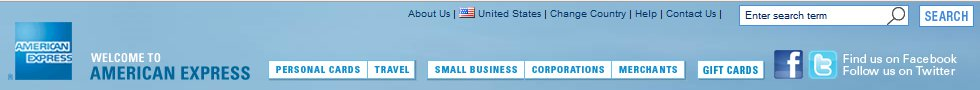 American Express Website Header Social Media Icons