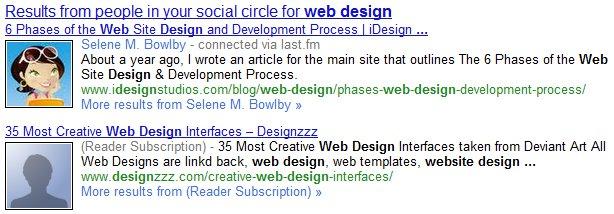 Google Social Search-Ergebnisse