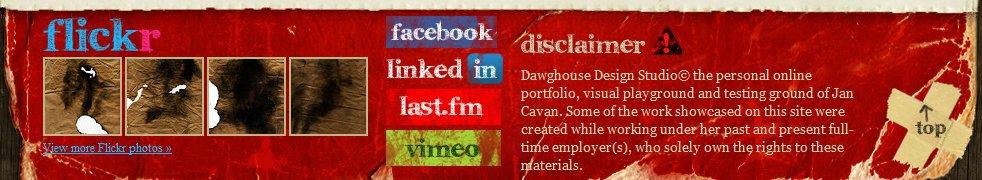 DawgHouse Design Studio Website Fußzeile Social Media Icons