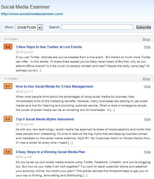 PostRank Blog Post Ratings