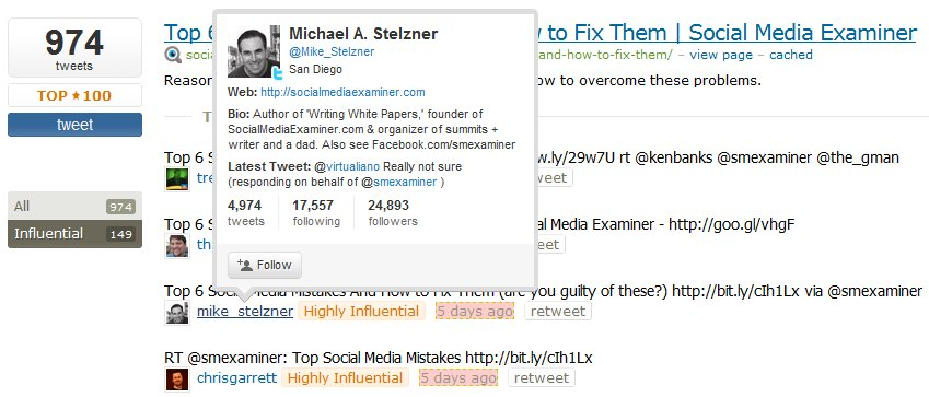 Topsy Influential Tweets